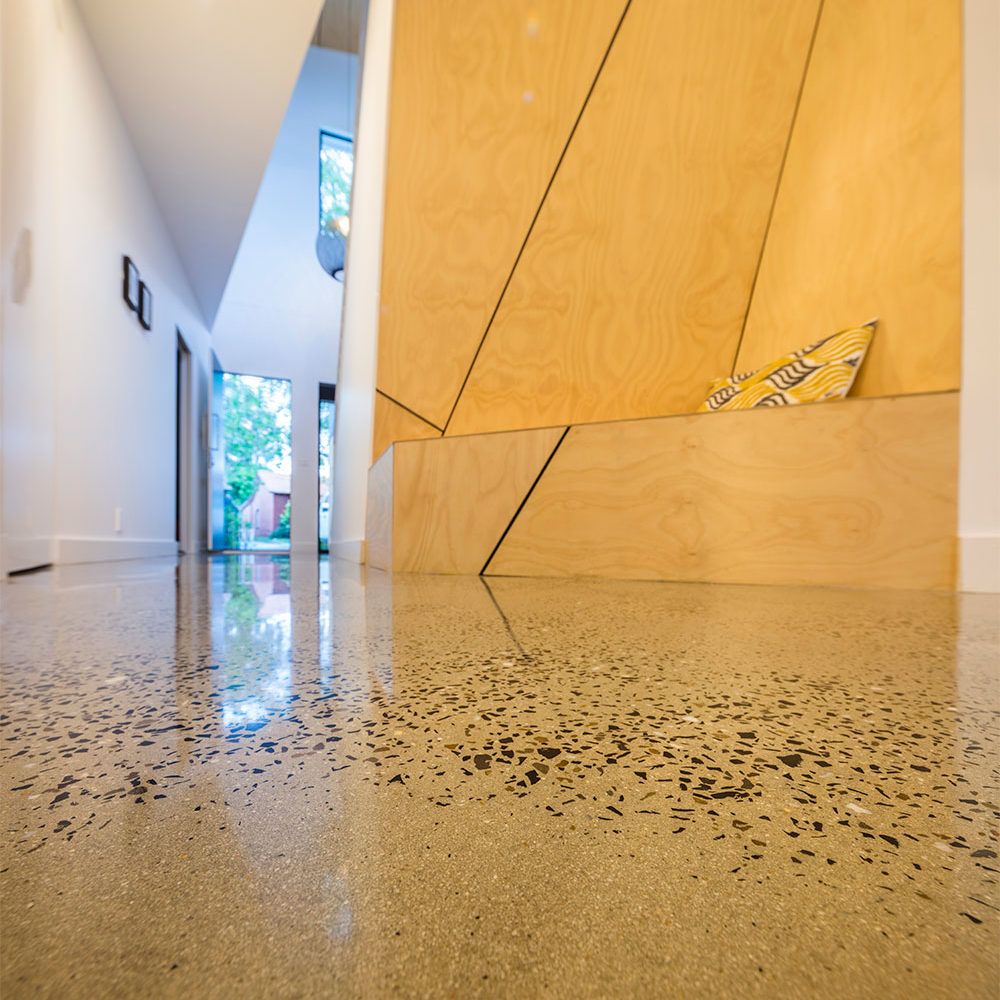 polished concrete floors northcote, high gloss, random exposure, geoshine